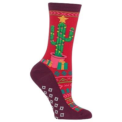 Hot Sox Womens Christmas Cactus Crew Socks