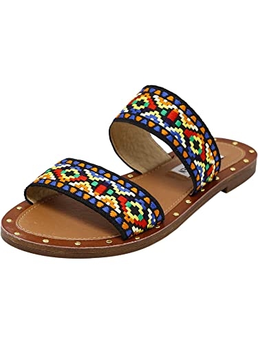 49659e7def6 Steve Madden Women s Marcia Tribal Double Strap Flat Sandals Multi 11 B(M)  US