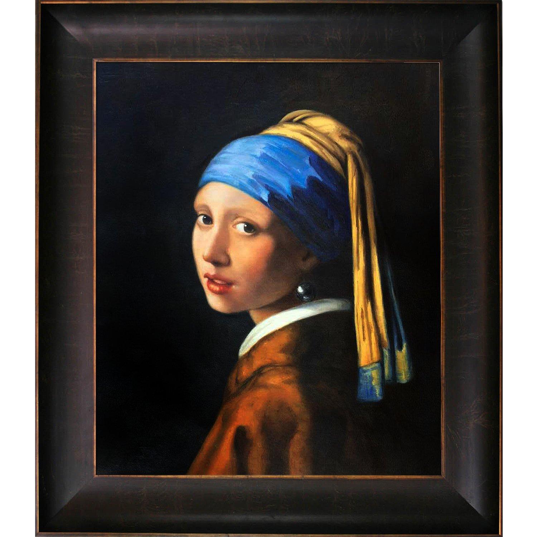 overstockArt Girl with Pearl Earring Oil Painting by Vermeer, Veine D' or Bronze Scoop by overstockArt