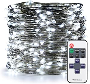 ER CHEN Cool White LED String Lights Plug in, 99ft 300 LED Christmas Fairy Lights Dimmable with RF Remote, Silver Coated Copper Wire Decorative Lights for Indoor/Outdoor, Patio, Garden, Yard, Party