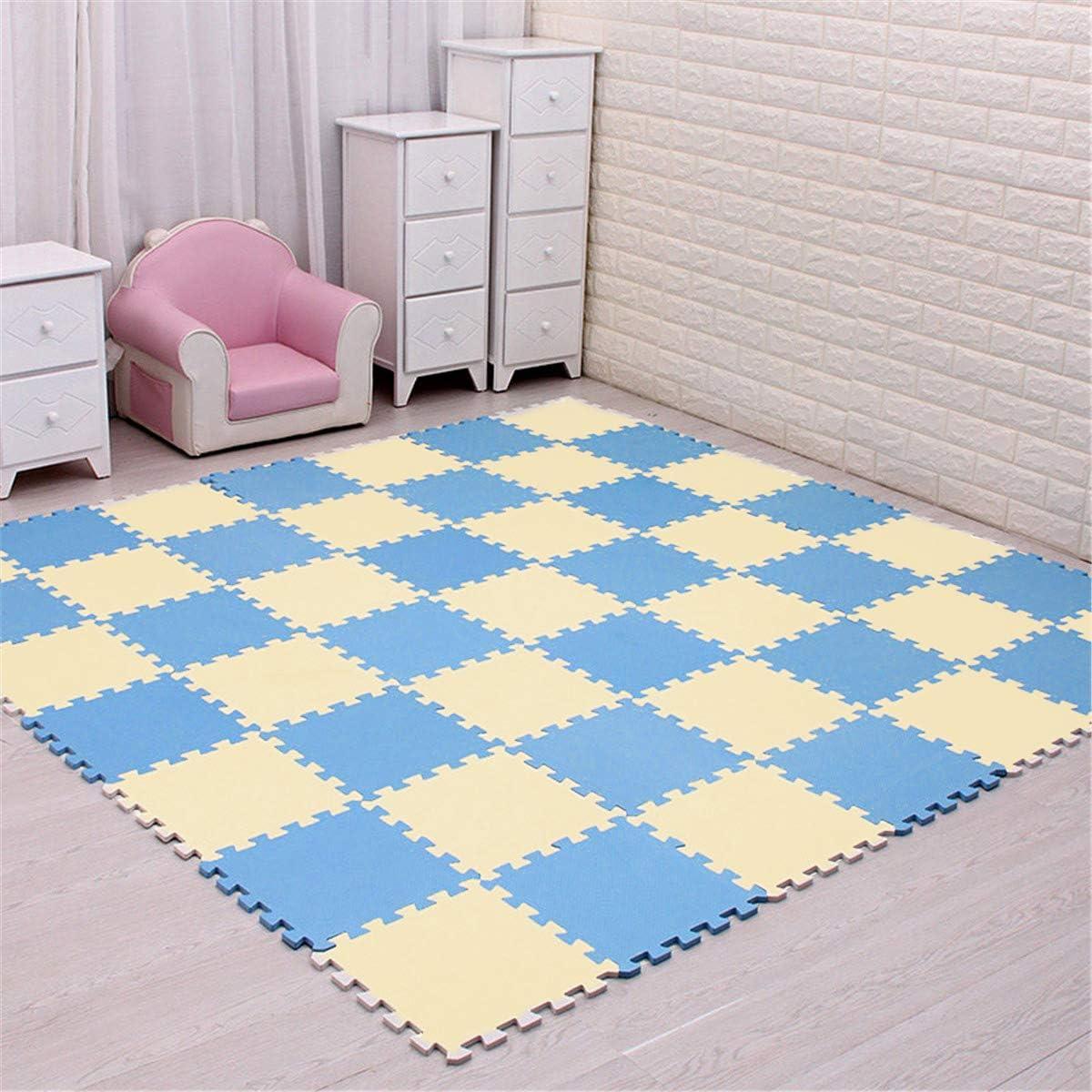 Cozylkx 11.8 x 11.8 Inch Kids EVA Foam Play Mat Yellow Blue,24 Tiles Puzzle Exercise Mat Interlocking Floor Tiles for Protective /& Nursery