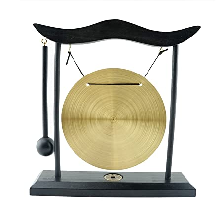 6goodeals, MULTI-SET Feng Shui Zen Art Brass Gong with Wooden Stand for Home Decor, Desktop Wind Chime USA SELLER 3, Complete Set