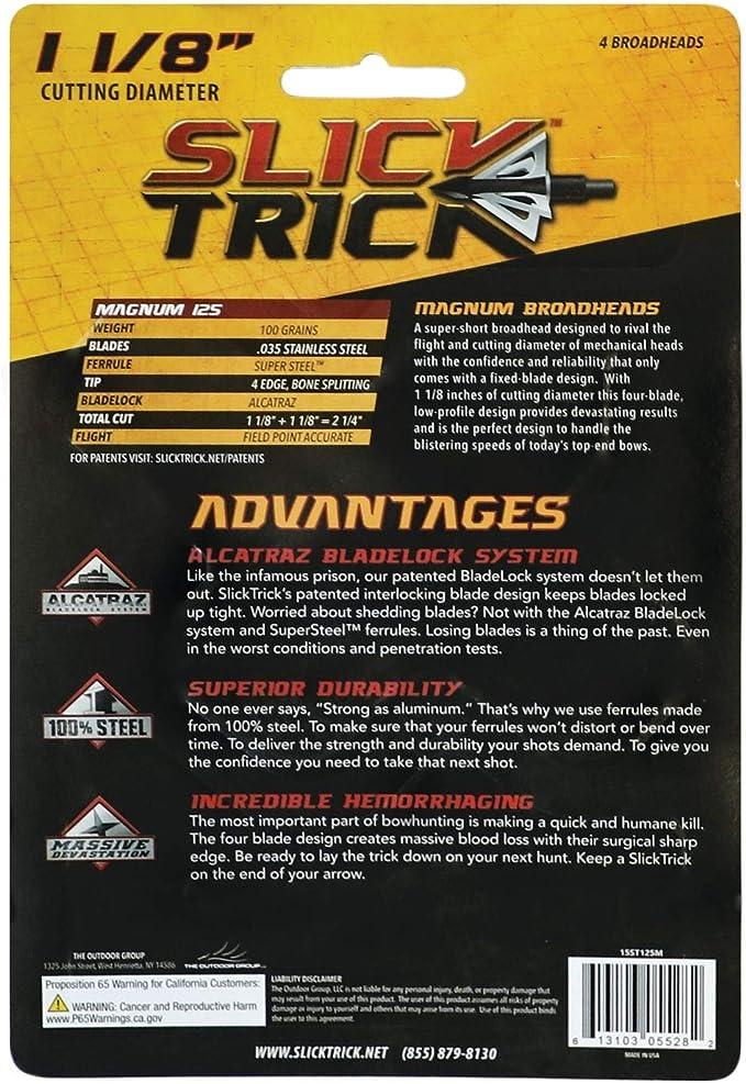 Slick Trick Magnum D6 100 Grain 1 1//8 Cut 4 Pak Broadhead STD6100M for sale online