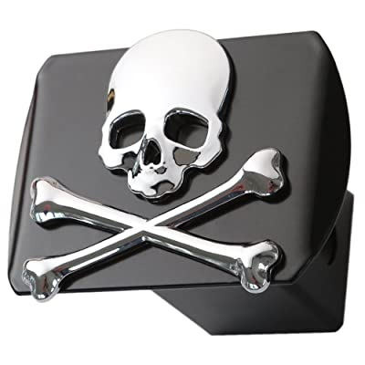 "LFPartS Metal Skull 3D Crossbones Chrome Emblem Trailer Metal Hitch Cover Fits 2"" Receivers New (Chrome on Black): Automotive"