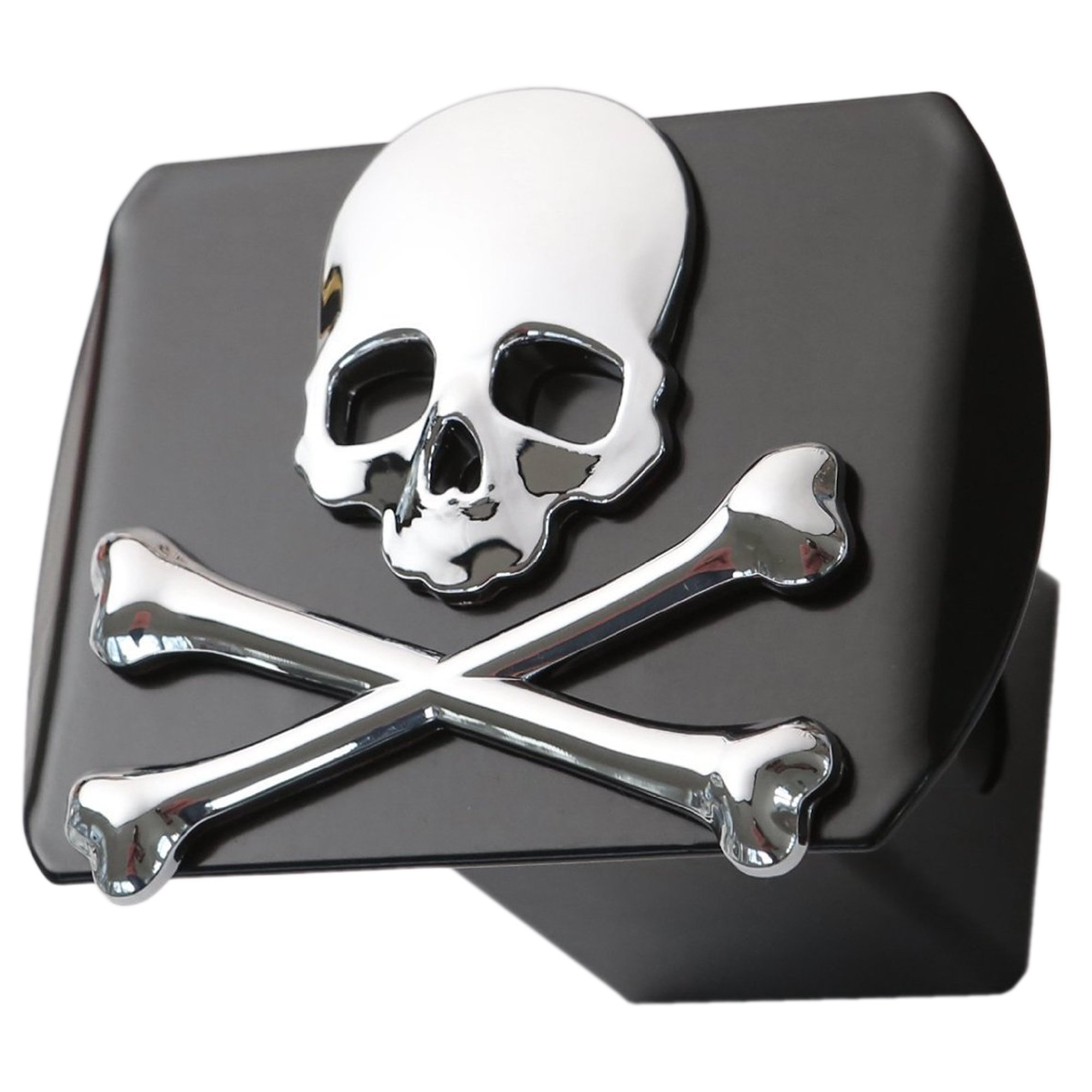 LFPartS Metal Skull 3D Crossbones Chrome Emblem Trailer Metal Hitch Cover Fits 2'' Receivers New (Chrome on Black) by LFPartS