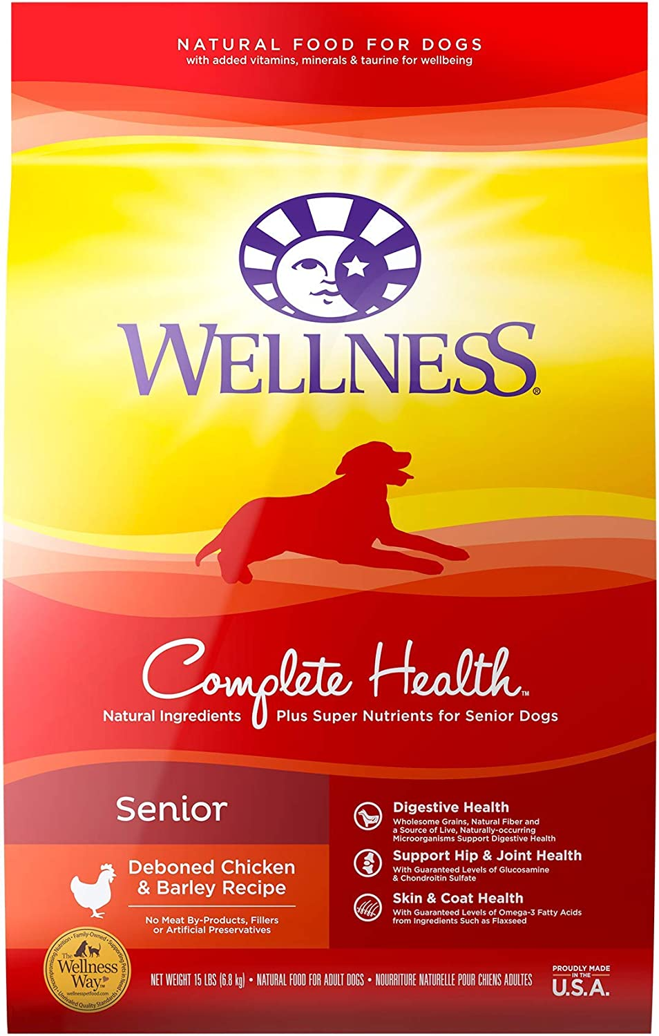 Wellness Complete Health Natural Dry Senior Dog Food, Chicken & Barley