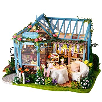 Wooden Dollhouse Miniature Glass Alice Afternoon Forest Tea Model Kit Handwork