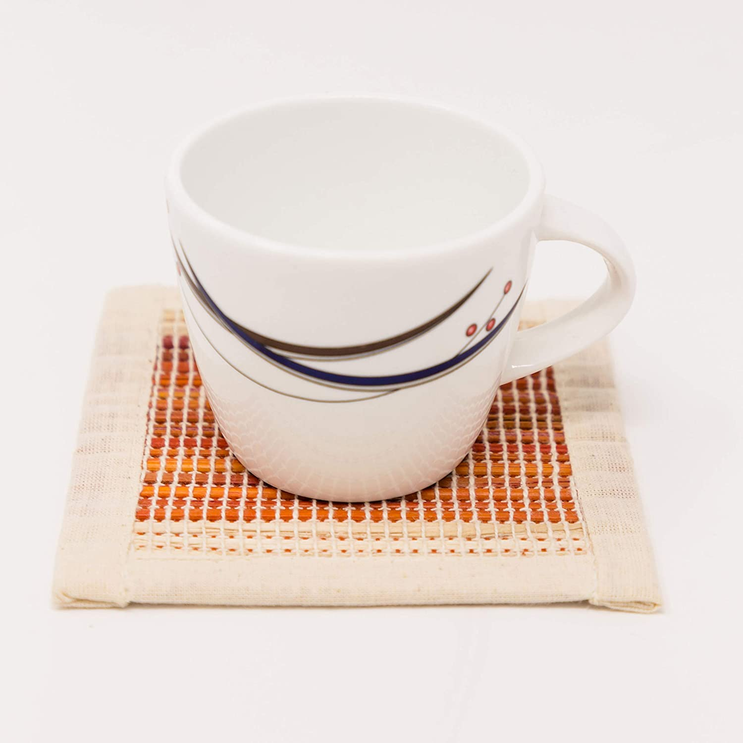 6 Matching Coasters 6 placemats Striped All Natural Double Sided Banana Fiber Placemats and Coasters with Jute Storage Bags was $18.99 One Week Sale!