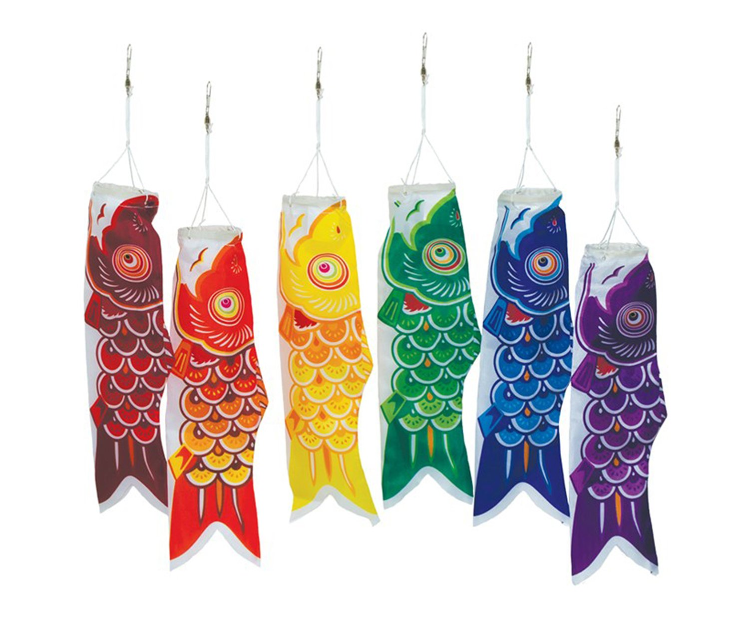Mozlly Multipack - In the Breeze 12 inch Colorful Koi Fish Windsocks - Hanging Novelty Patio Decor (6pc Set) (Pack of 6) - Item #S115072_X6