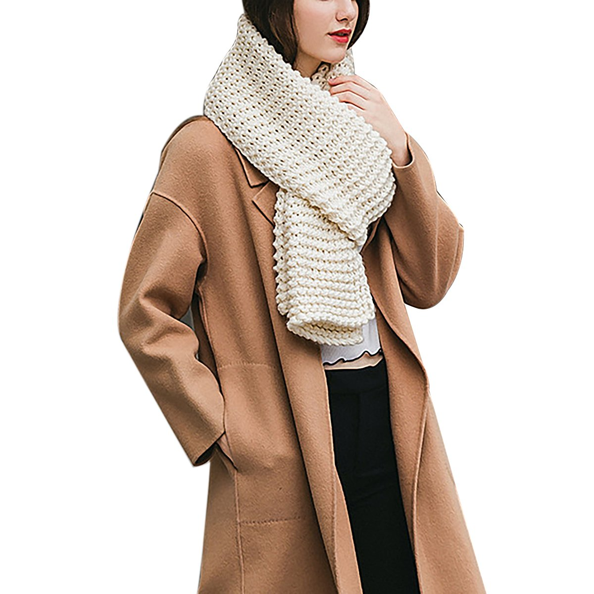 Women Men Elegant Winter Long Warm Scarf Thick Wrap Chunky Knit Scarf