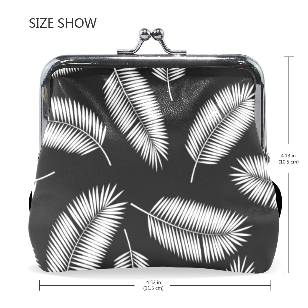 WIHVE Fashion Womens Coin Purse Tropical White Palm Leafs Vintage Pouch Mini Purse Wallets