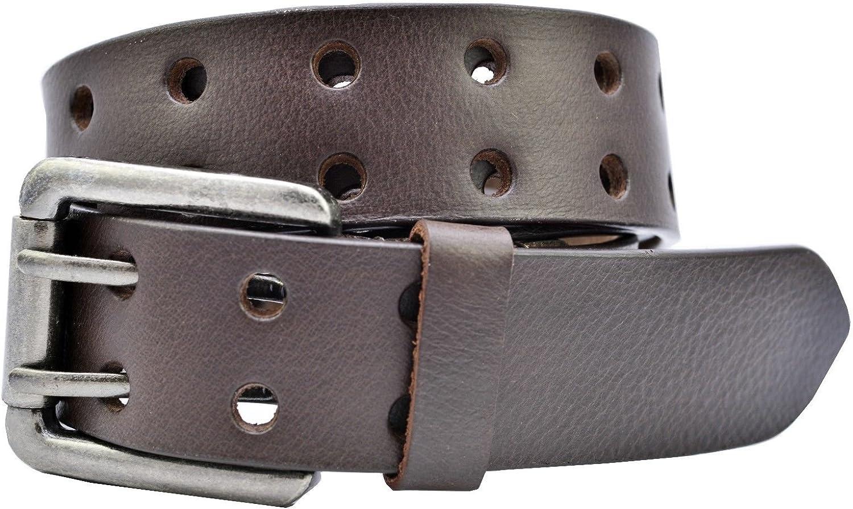 Brown Full Grain Buffalo Leather 2-Hole Jeans Belt