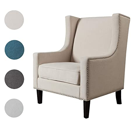 Phenomenal Top Space Sofa Accent Chair Modern Upholstered Mid Century Single Sofa Rivet Style Comfy Arm Chair For Bedroom Club Office 1 Pcs White Ibusinesslaw Wood Chair Design Ideas Ibusinesslaworg