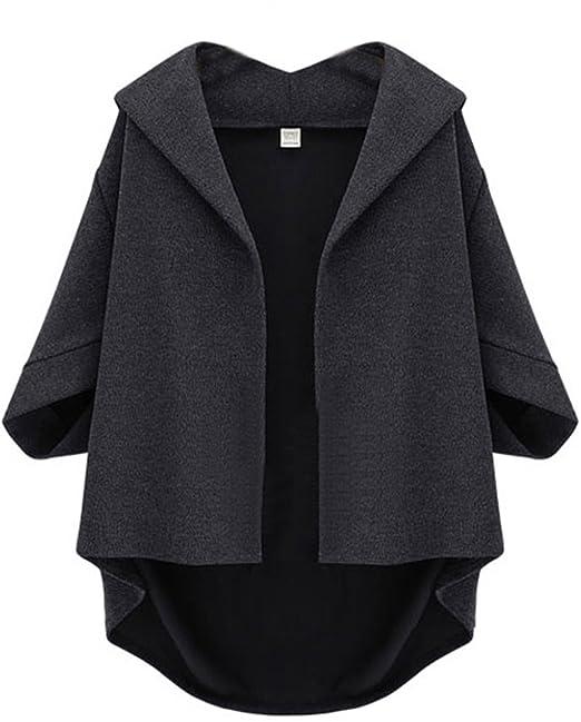 sheinside® Mujer s abrigo con manga murciélago, Gris gris large