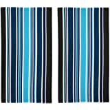 COTTON CRAFT Malibu Deep Sea Set of 2 Oversized Cotton Jacquard Woven Velour Beach and Pool Towels, 39 inch x 68 inch, Dark B