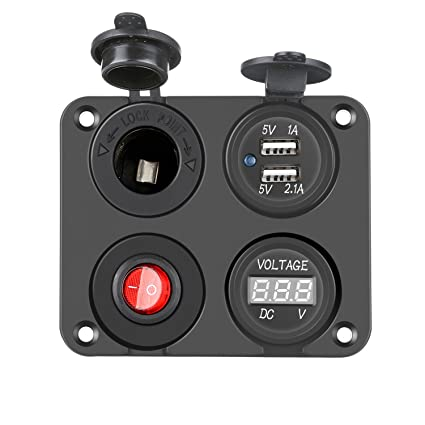 PullPritt Panel del interruptor del cargador del coche 4 en 1 ...