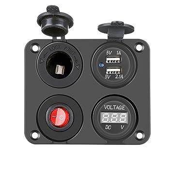 PullPritt Panel del interruptor del cargador del coche 4 en 1, Función Cargador dual USB 2.1A y 1A + Voltímetro LED + Interruptor, para el Barco Coche ...