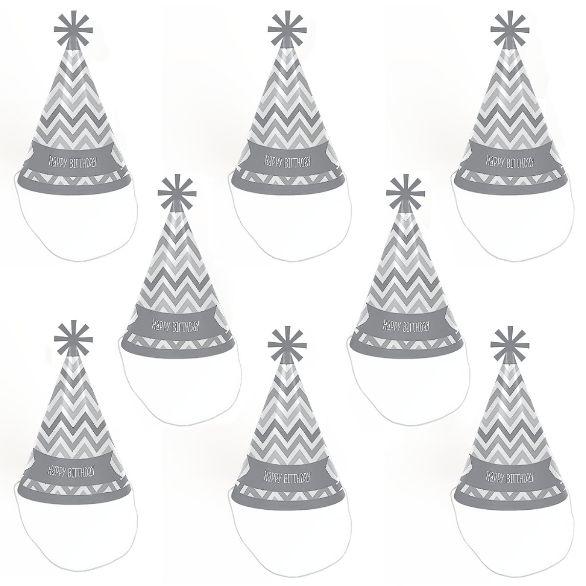 Cone Happy Birthday Party Hats for Kids and Adults Chevron Gray Standard Size Set of 8