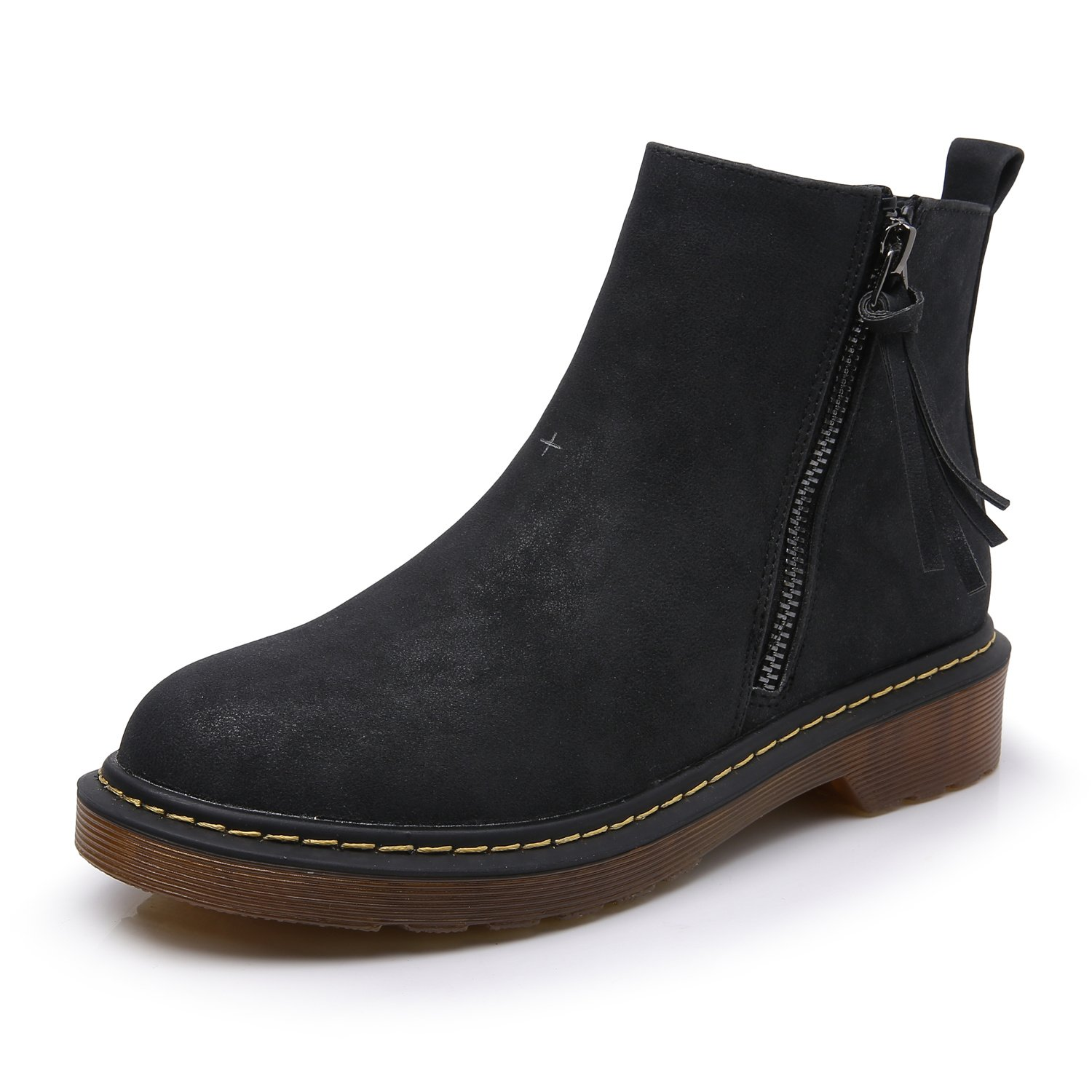 Smilun Unisex Audults Classic Comfortable Warm Chelsea Boots Zip 4 cm Heel Chelsea Boots Zip Shoes for Women Men Black US9.5