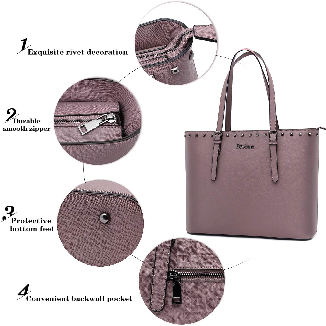 Laptop Bag for Women,15.6 Inch Laptop Tote Bag Office Briefcase with Adjustable Strap and Rivets(2013-purple) by EyeSun (Image #3)
