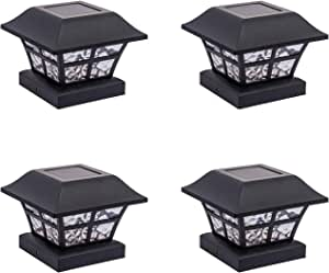 GreenLighting 4 Pack Evolve Solar Powered LED Post Cap Light for 4x4 or 5x5 Posts (Black)