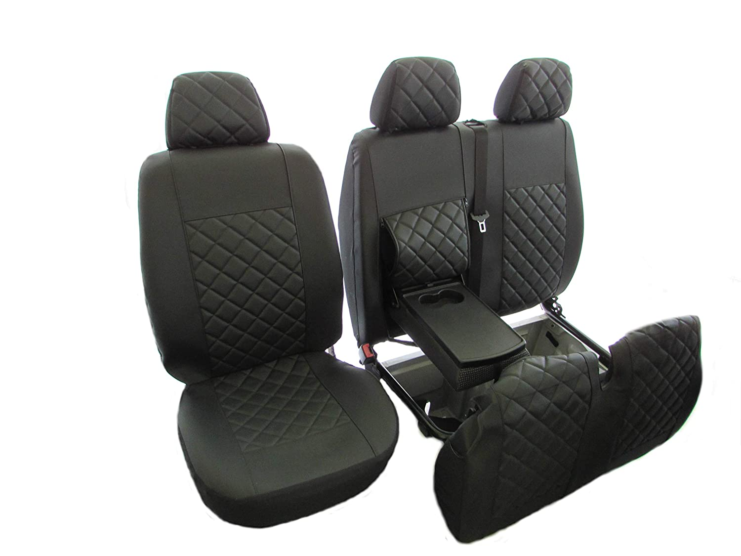 1 single 1 double Texmar PEUGEOT BOXER,CITROEN JUMPER//RELAY,FIAT DUCATO 2006-2018 RHD BLACK-GRAY ECO LEATHER Seat Covers 2+1