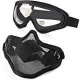 Vanmor Airsoft Mask Half Face Mesh Mask with UV400 Goggles for Hunting Shooting Paintball