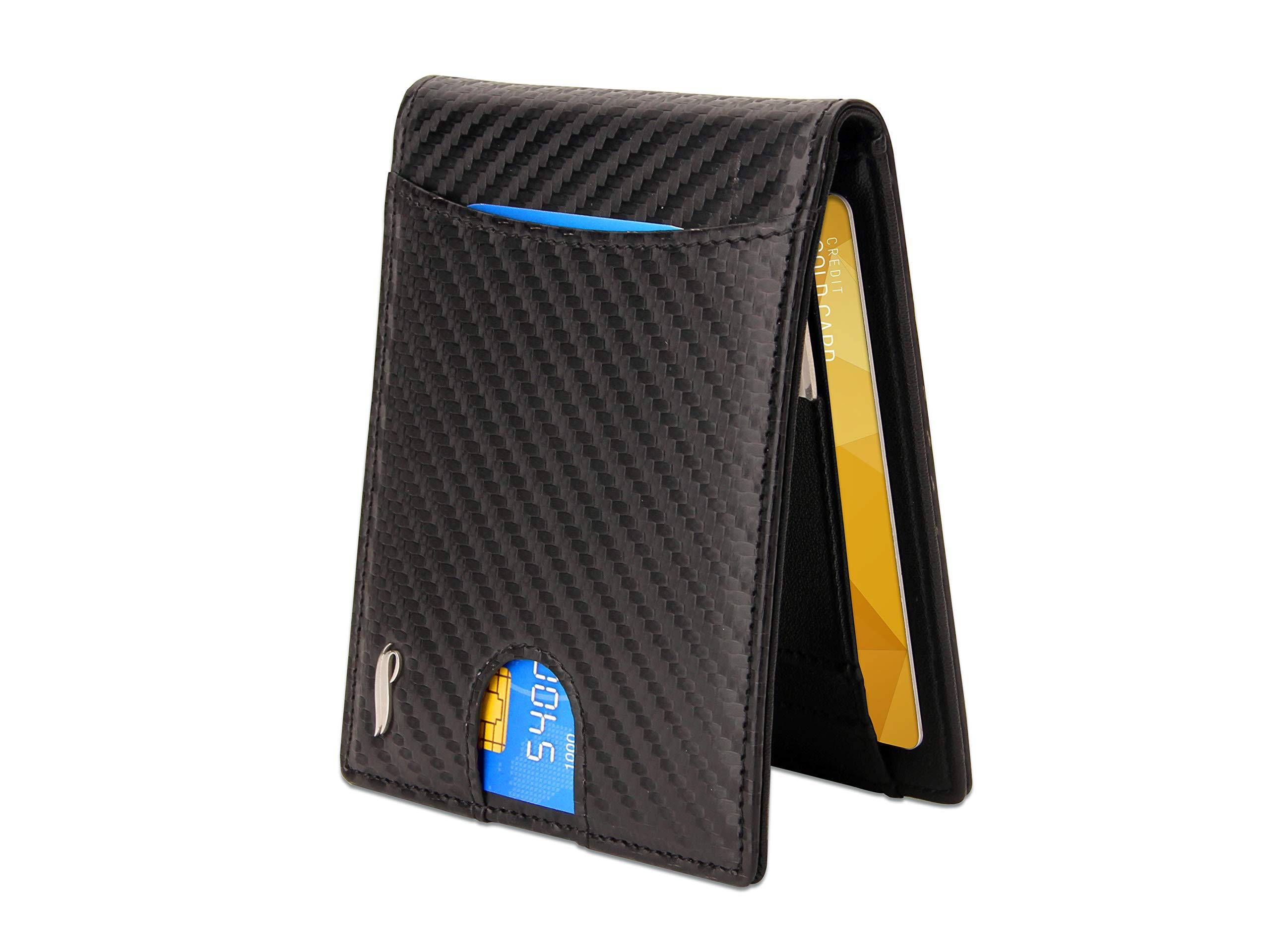 c65ddeb0cd Portafoglio Uomo CIVANBO, Portafoglio Piccolo Sottile, Porta Carte Credito  con Clip per Contanti,