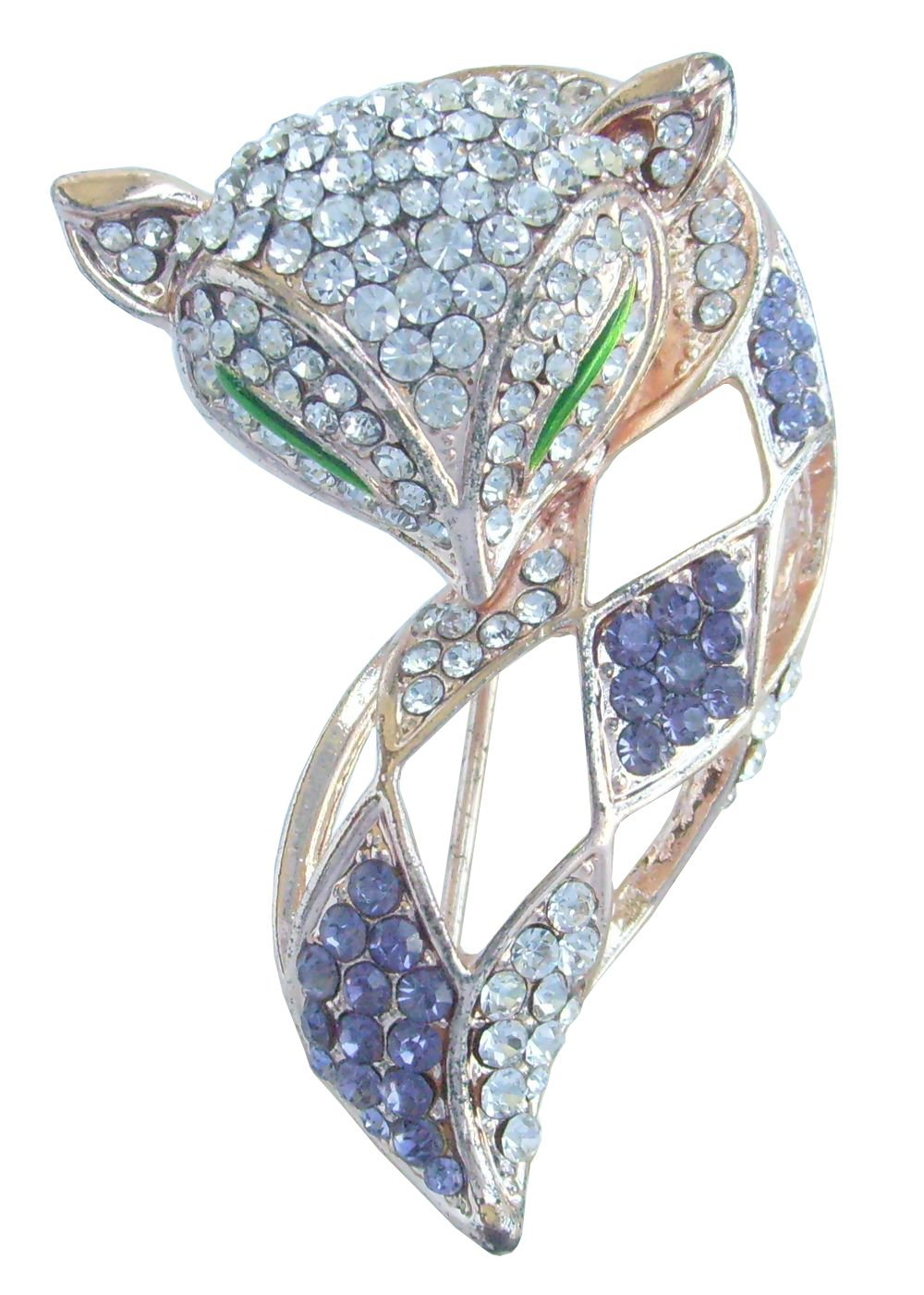 Sindary Art Style 1.97'' Lovely Animal Fox Brooch Pin Austrian Crystal BZ6347