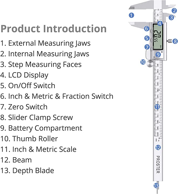 "200mm//8/"" Digital Vernier Caliper Gauge Stainless Steel Electronic Micrometer"