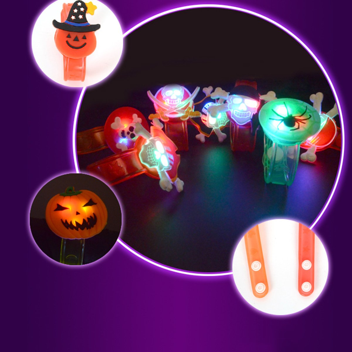 YeahiBaby 6Pcs Light up Bracelets Party Favor Light Up Wristbands for Halloween Chritmas Festival Dance Party by YeahiBaby (Image #3)