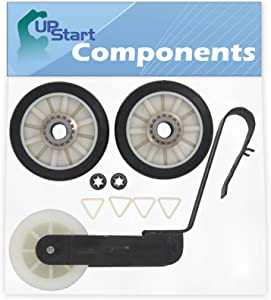 2 Pieces 349241T Dryer Drum Roller & 691366 Idler Pulley Replacement for Whirlpool LEQ8857JQ0 Dryer - Compatible with 3397590 Rear Drum Support Roller & WP691366 Idler Pulley