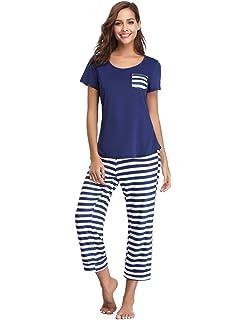Aibrou Pijamas Verano Mujer Algodon Manga Corto & Pantalones Recortados,Suave Comodo y Fresco