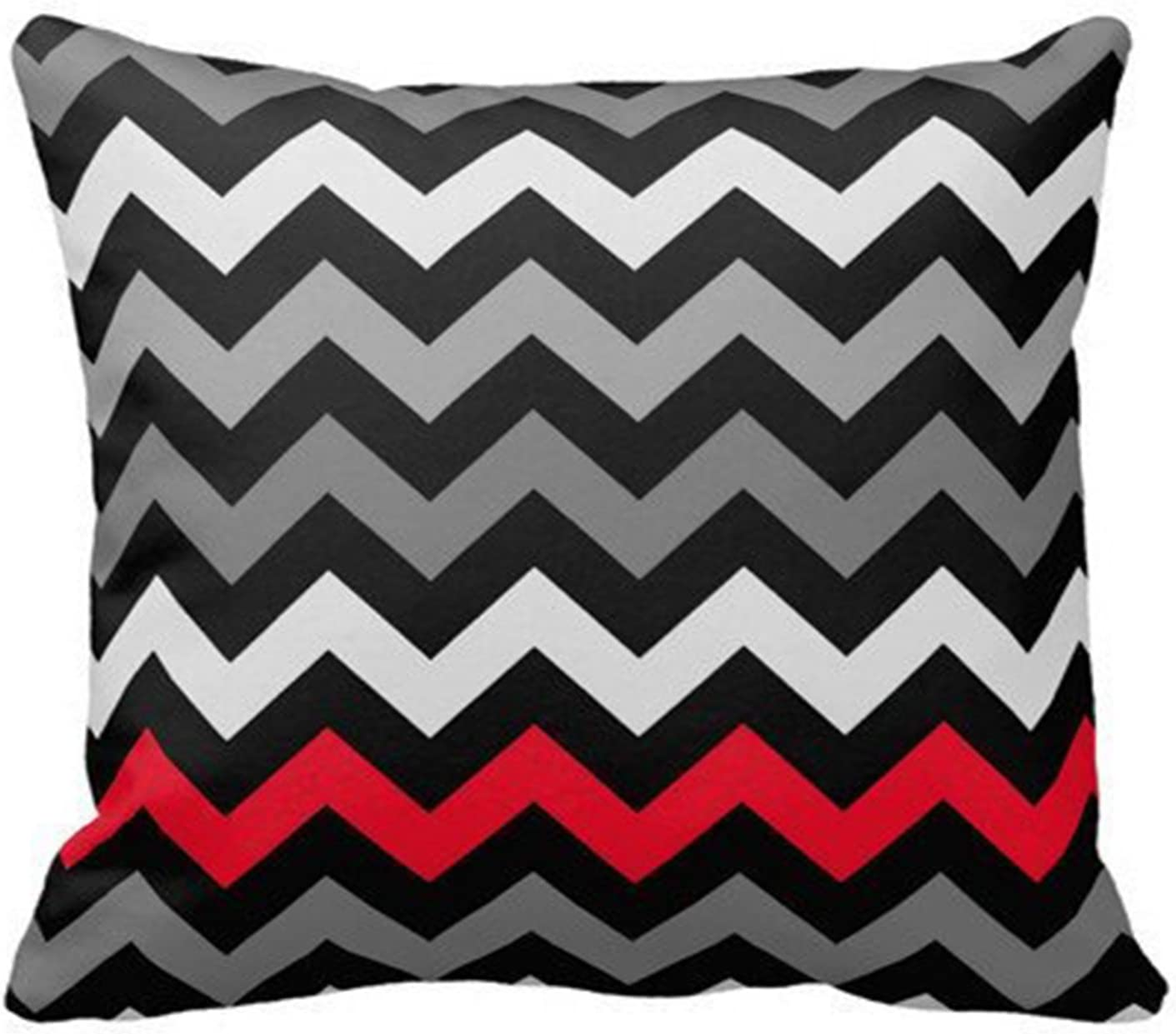 SIXSTARS Black & White Chevron with Red Stripe Throw Pillow Personalized 18x18 Inch Square Cotton Throw Pillow Case Decor Cushion Covers