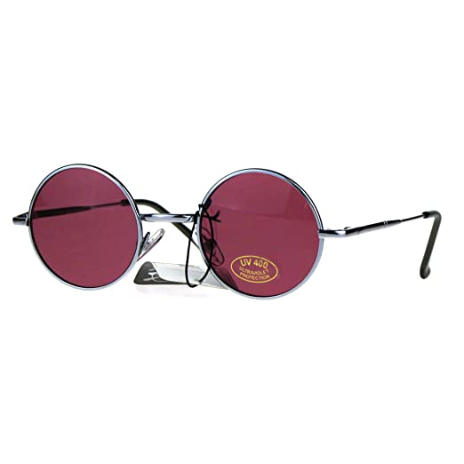c076cecb30fb5 Small Size Round Circle Sunglasses Narrow Silver Frame Pink Lens UV 400