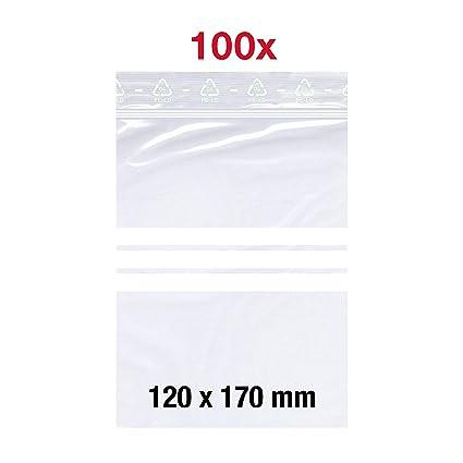 100 bolsas con cierre a presión, 120 x 170 mm, DIN A6, 50 mμ ...