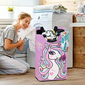 Unicorn Girl Rose Laundry Baskets Hamper Flower Rainbow Large Dirty Clothes Bag Magic Animal Washing Bin Horse Clothing Holder Floral Kids Toys Books Storage Organizer College Bathroom Bedroom Dorm
