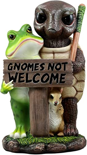 Ebros Gnomes Not Welcome Angry Turtle Squirrel and Frog Friends Statue 10.25″ H Home Whimsical Animal Welcome Sign Decorative Sculpture