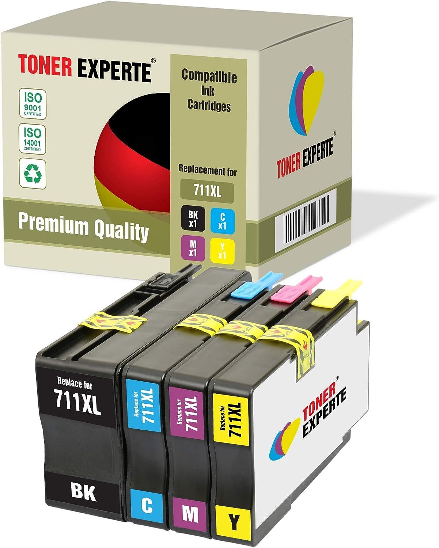Pack de 4 XL TONER EXPERTE® Compatibles con HP 711XL 711 XL Cartuchos de Tinta para HP DesignJet T120, T520 (Negro, Cian, Magenta, Negro)