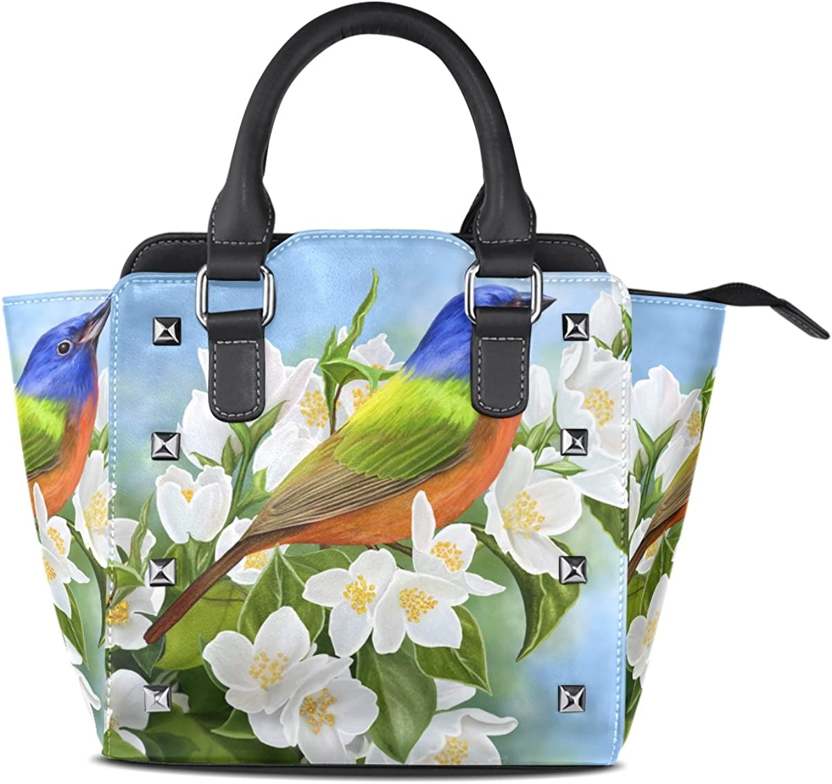 Womens Top Handle Satchel Handbag Cute Bird Jasmine Branch Ladies PU Leather Shoulder Bag Crossbody Bag