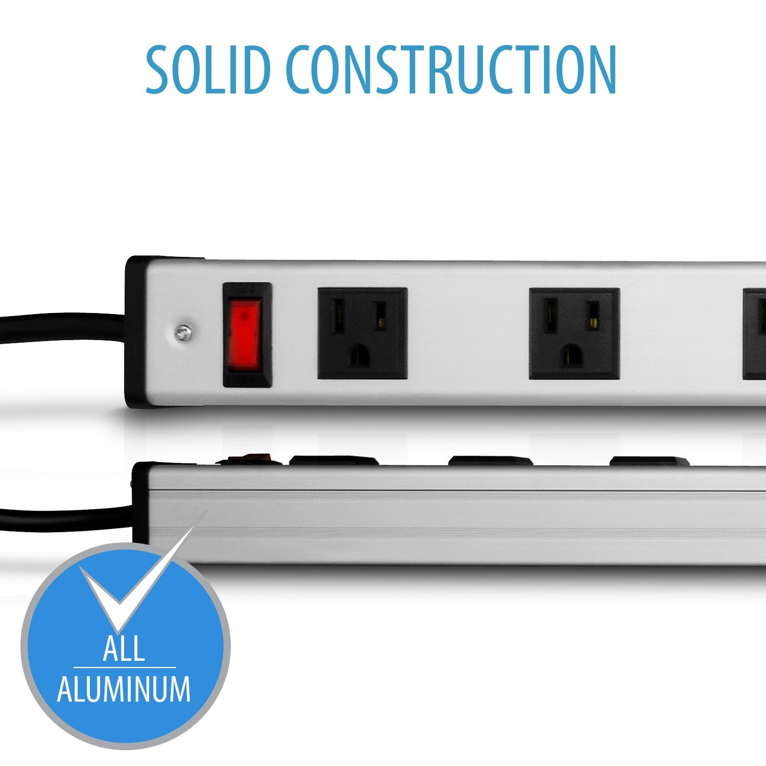 V7 PWS3312-1N 12-Outlet Horizontal Industrial Metal Power Strip 125V, 15A, 15-ft Cord, 5-15R