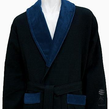 Blau Waffel Schalkragen Bademantel – 100% Baumwolle, 100 % Baumwolle ...