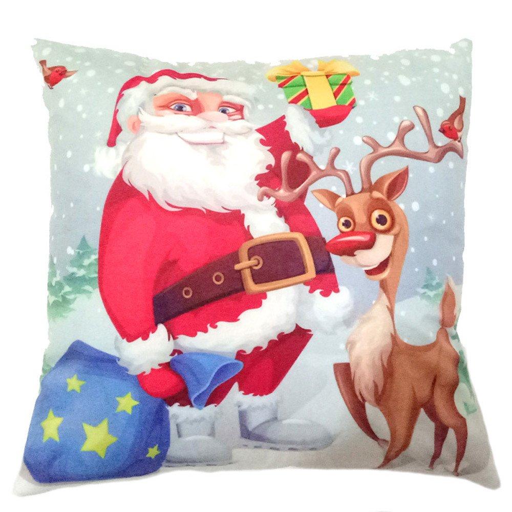 Leewos Christmas Cushion Covers,Santa Claus Snowman Pattern Pillow Case Xmas Home Party Decor Throw Cushion Case 45X45cm (45X45cm, B)