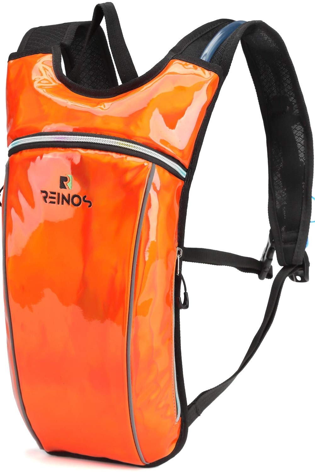 REINOS Hydration Backpack - Light Water Pack - 2L Water Bladder Included for Running, Hiking, Biking, Festivals, Raves (Solid Orange)