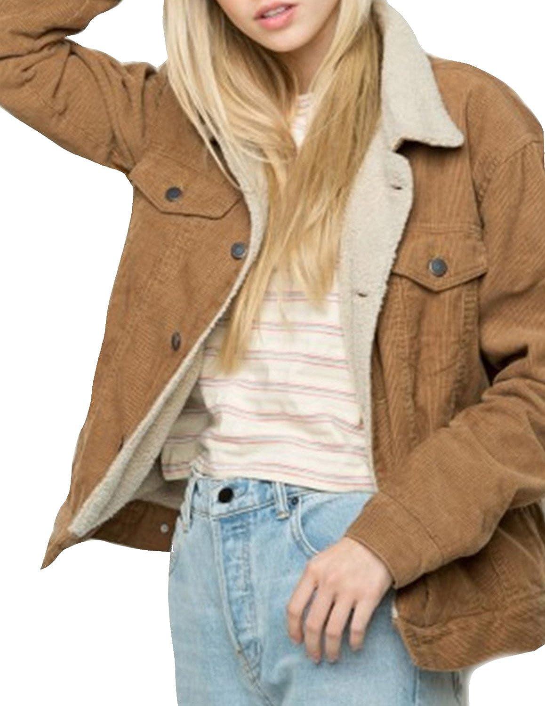 hodoyi Women Classical Warm Fur Corduroy Composite Buttons Outwear Jacket