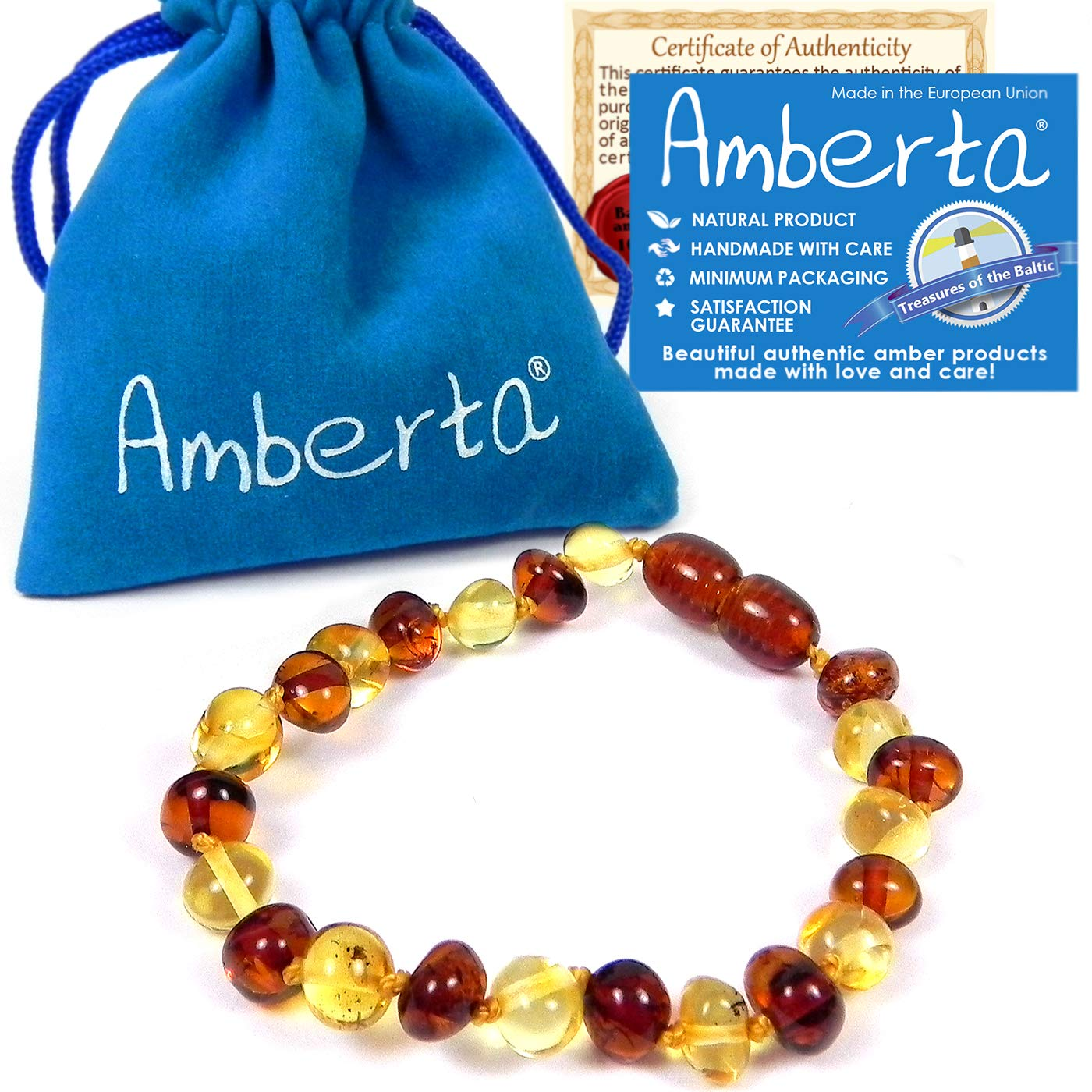 Amber Teething Anklet or Bracelet for Babies Amberta - 5.5 OR 6.3 inches, Anti Inflammatory, Teething Discomfort & Drooling Relief, Natural Soothing Effect - 100% Pure Amber, Handmade by Amberta