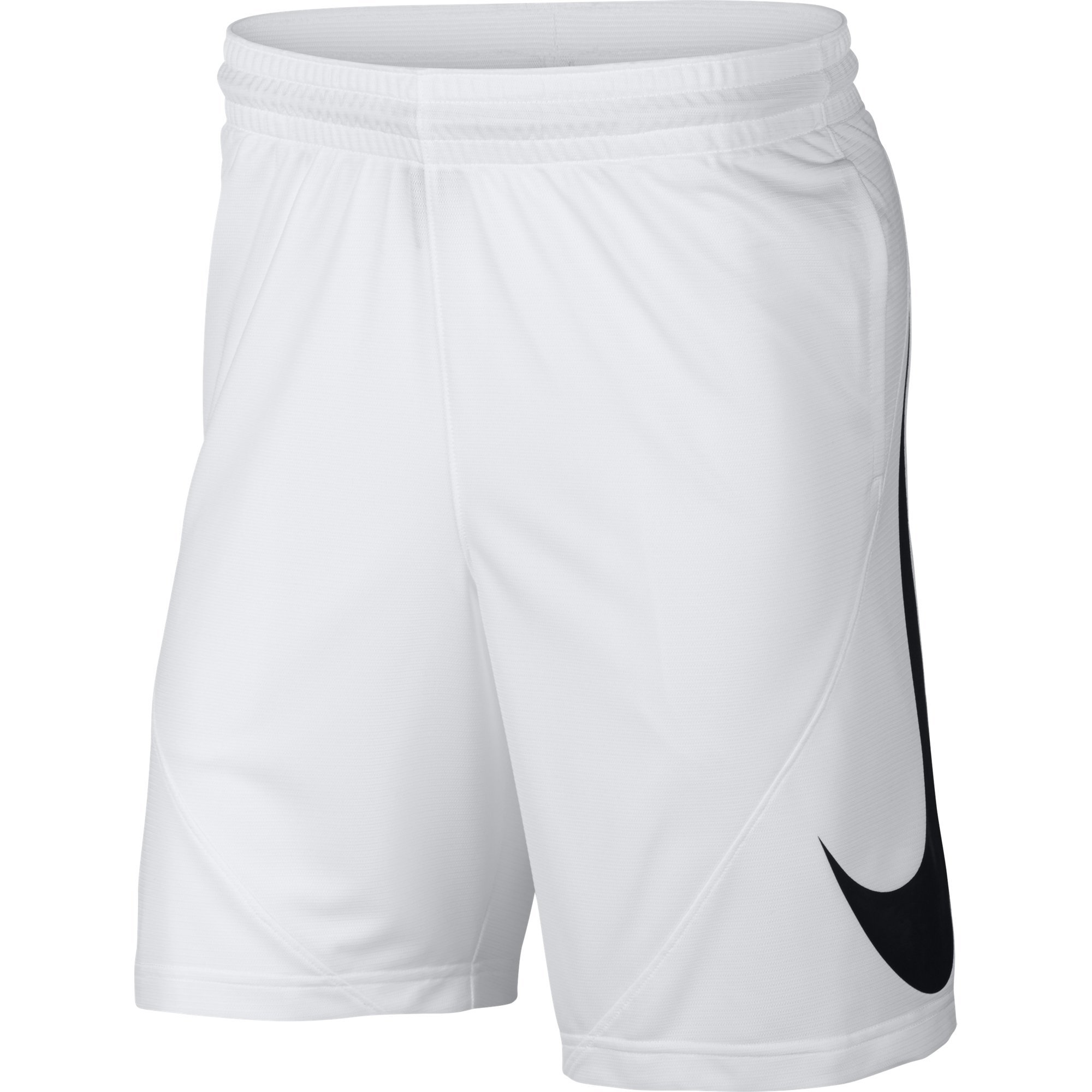 NIKE Men's HBR Basketball Shorts, White/White/Black, Small