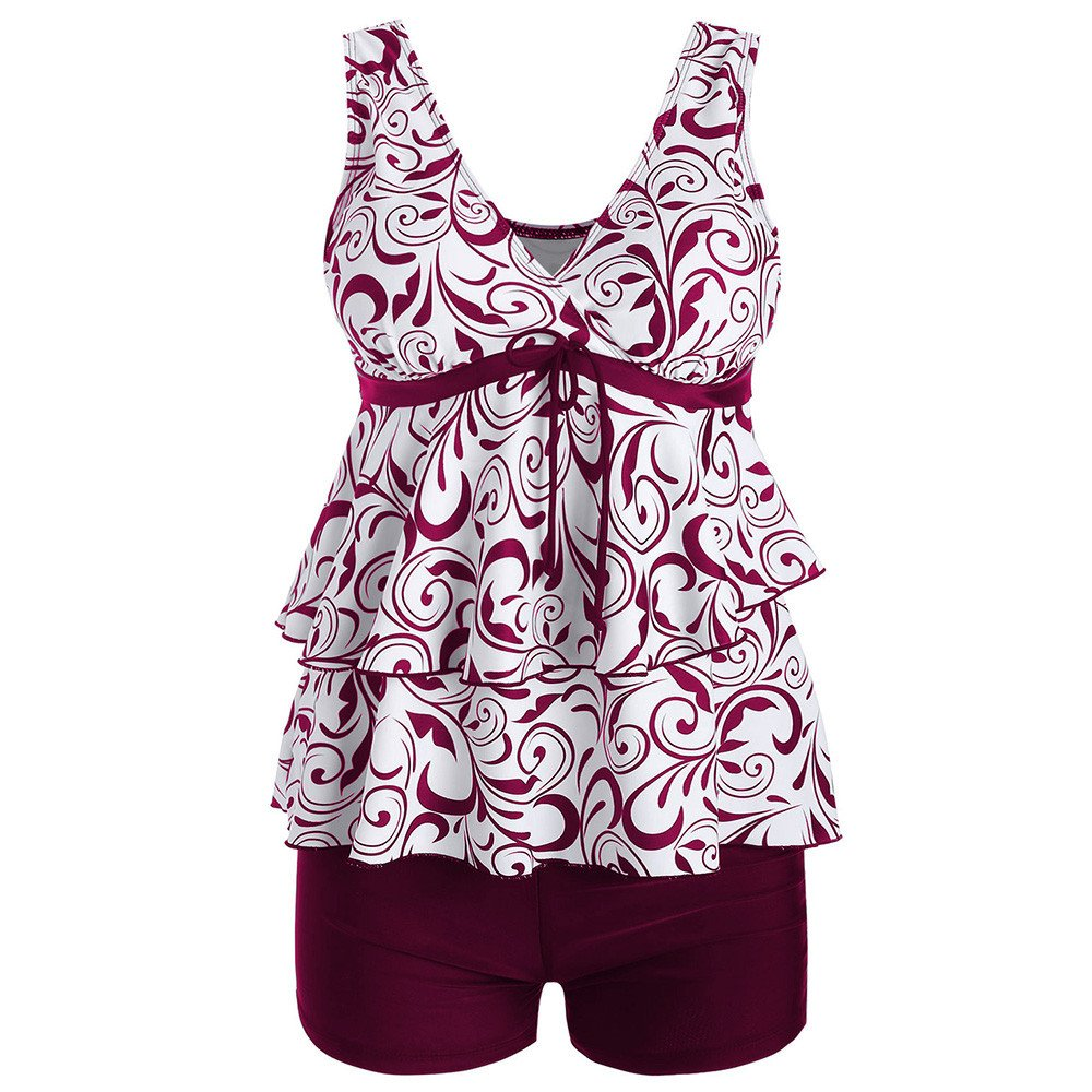 Libermall Women's Plus Size Tankini Swimsuit Two Piece V Neck Flounce Tops with Boyshorts Bottoms Bathing Suit Swimwear Red