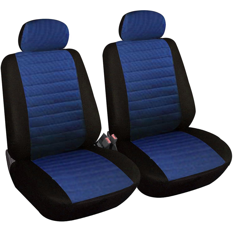 2 vordere Sitzbezüge Schonbezüge blau-schwarz für BMW Dacia Citroen Audi Daewoo