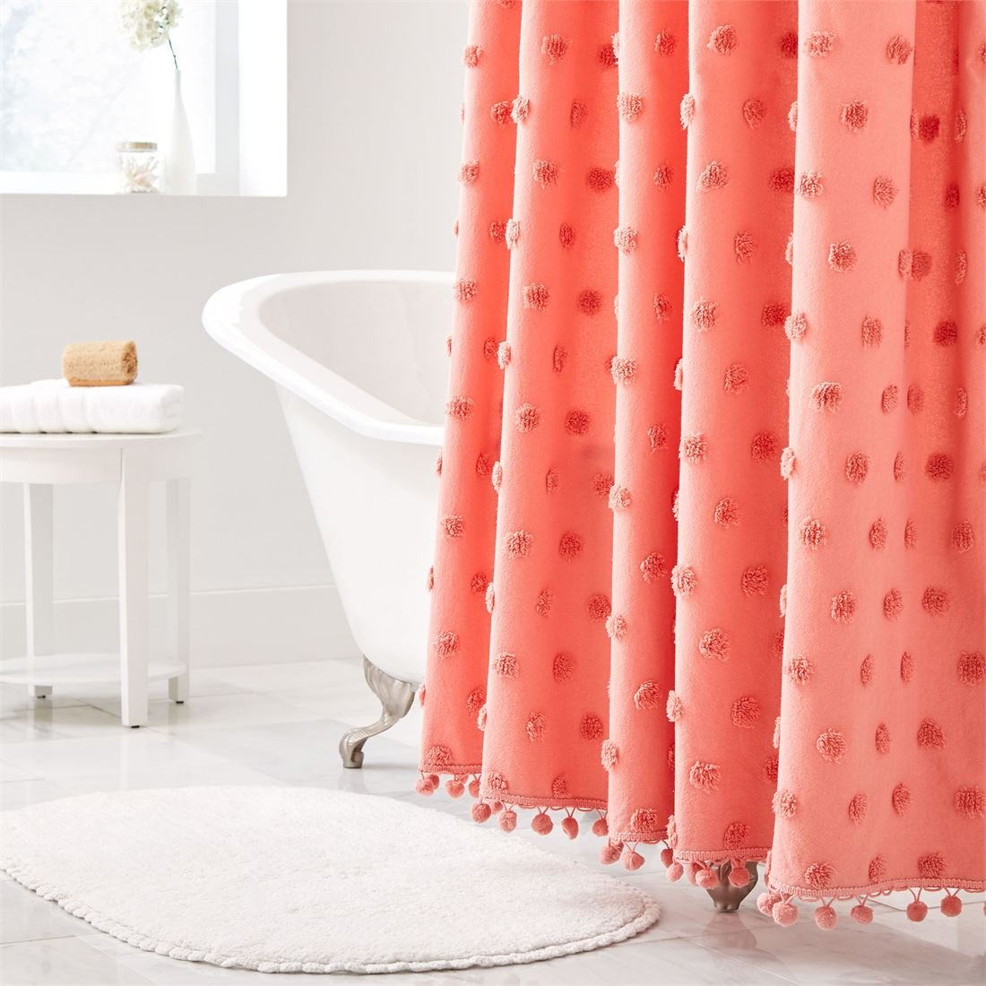 BrylaneHome Dot Cotton Tufted Shower Curtain (Coral,0)